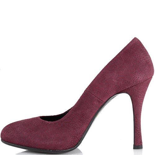 Женские туфли Loriblu с круглым носком из замши бордового цвета с лазерной обработкой, фото