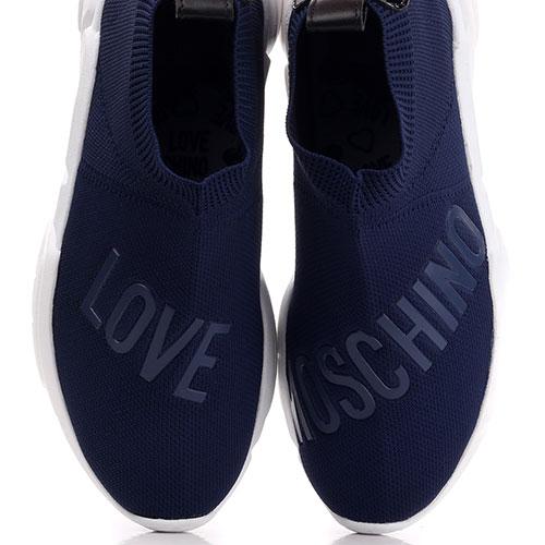 Высокие кроссовки Love Moschino синего цвета, фото