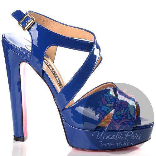 Босоножки Luciano Padovan синие лаковые кожаные, фото