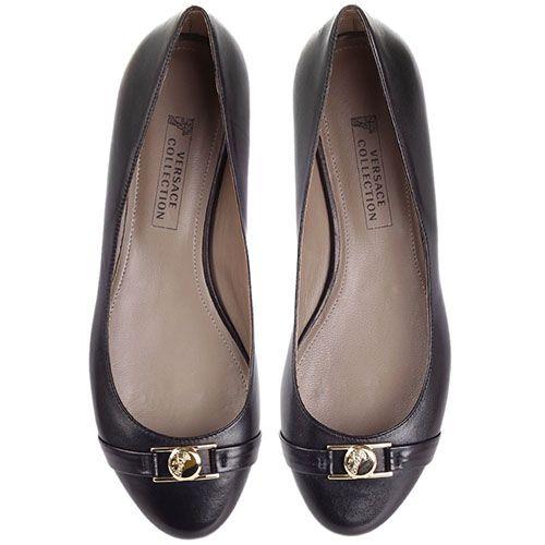 Балетки Versace Collection черного цвета с золотистым логотипом, фото