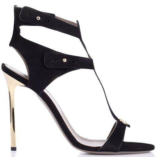 Босоножки Versace Collection замшевые черного цвета с золотистым каблуком-шпилькой, фото