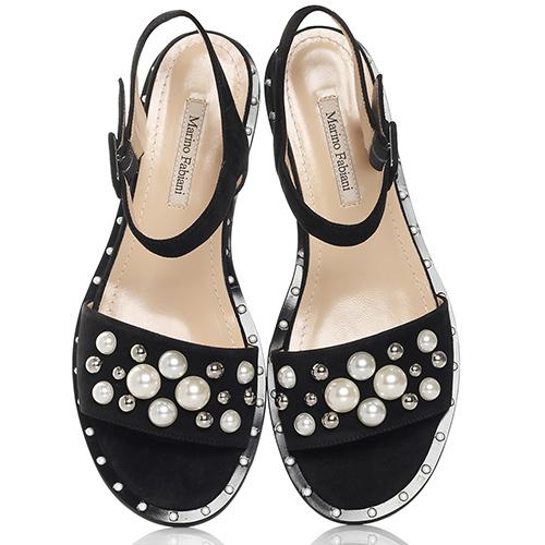 Замшевые сандалии Marino Fabiani с декором-бусинами, фото