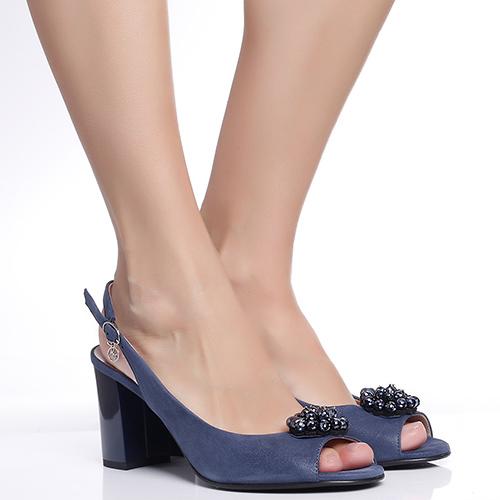 Синие босоножки Marino Fabiani на устойчивом каблуке, фото