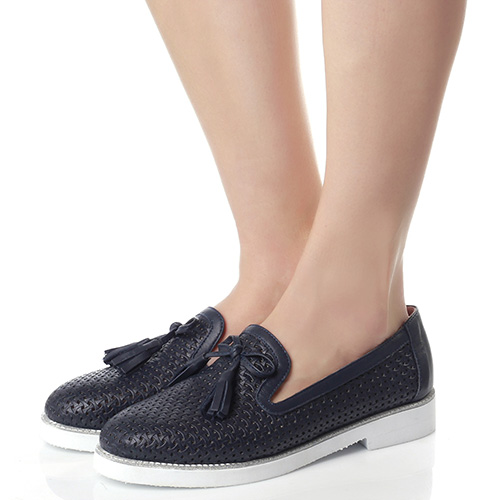 Темно-синие туфли Lab Milano с перфорацией, фото