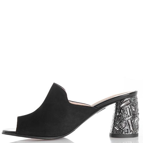 Черные мюли Marino Fabiani с декором на каблуке, фото