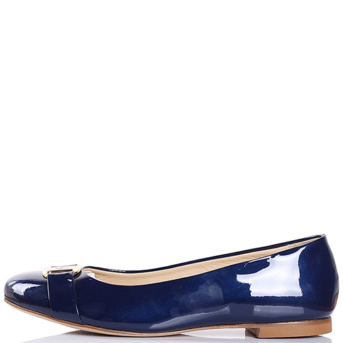 Кожаные балетки Griff Italia лаковые синего цвета, фото