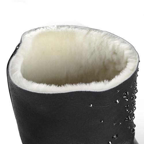 Черные сапоги на толстой подошве Nando Muzi декорированные стразами, фото