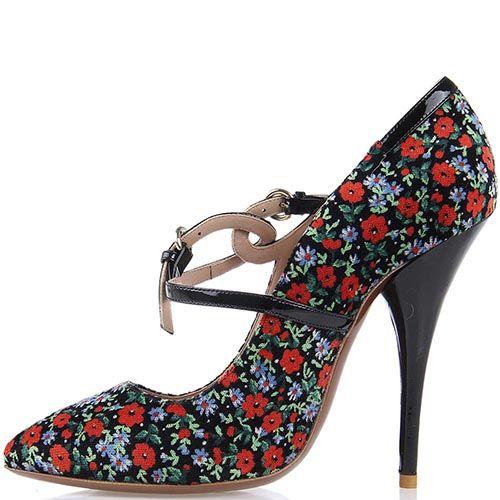 Туфли Giordano Torresi Lugano Bis из сочетания разноцветного текстиля и черной лаковой кожи, фото
