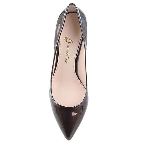 Туфли Giordano Torresi Luxury Brown лаковые на среднем каблуке, фото