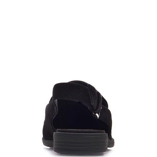 Босоножки Prego из натуральной черной замши с аппликацией из страз разных размеров, фото