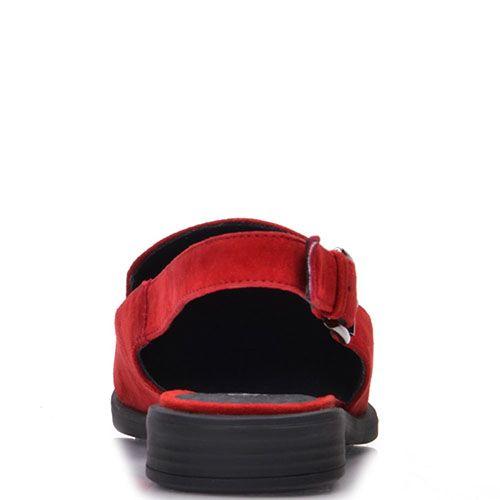 Замшевые босоножки Prego красного цвета с закрытым носочком, фото