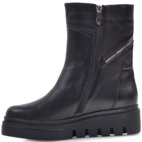 Ботинки Prego черного цвета кожаные с двумя молниями и на толстой подошве, фото