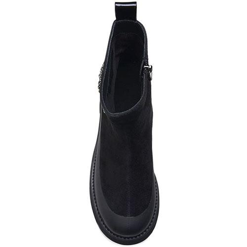 Высокие ботинки Prego из натуральной замши черного цвета с блестящим декором, фото