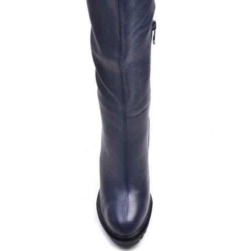 Сапоги Prego зимние из замши на меху синего цвета с высоким каблуком и рельефной подошвой, фото