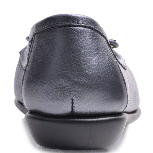 Балетки Prego кожаные серого цвета с бантиком, фото