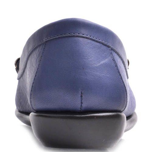 Мокасины Prego женские кожаные синего цвета, фото