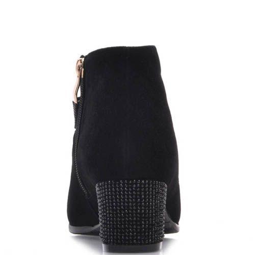 Ботильоны Prego черного цвета замшевые с бантиком и кристалликами на каблуке, фото