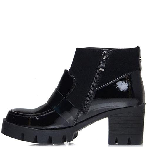 Ботинки из лаковой кожи Prego черного цвета на рельефной подошве, фото