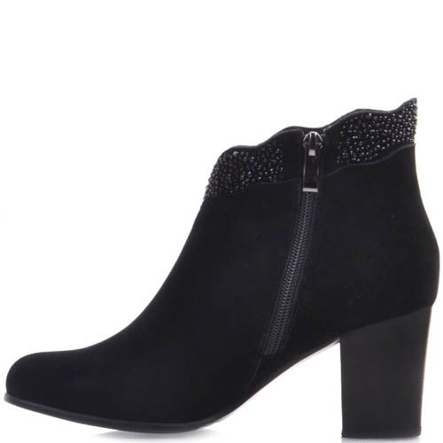 Ботильоны Prego замшевые черного цвета на среднем каблуке с блестящим декором, фото