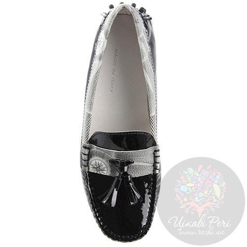 Мокасины Gattinoni из кожи черного цвета с черно-белой отделкой и декором-кисточками, фото
