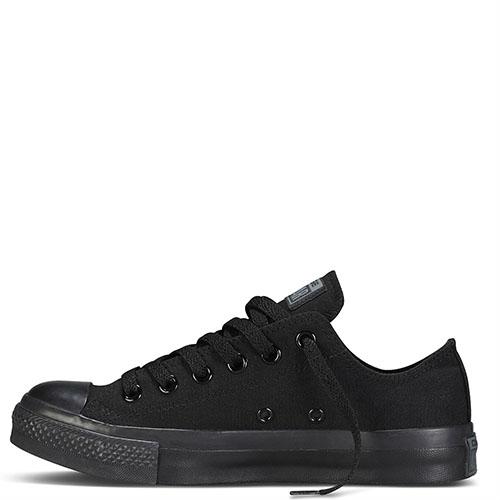 Низкие черные кеды Converse Chuck Taylor на черной подошве, фото