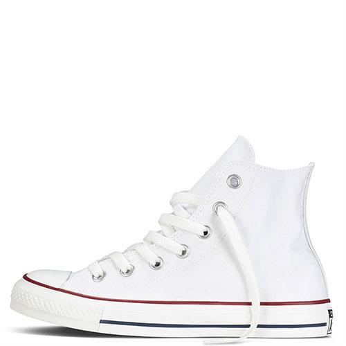 Белые высокие кеды Converse Chuck Taylor с полосами вдоль подошвы, фото