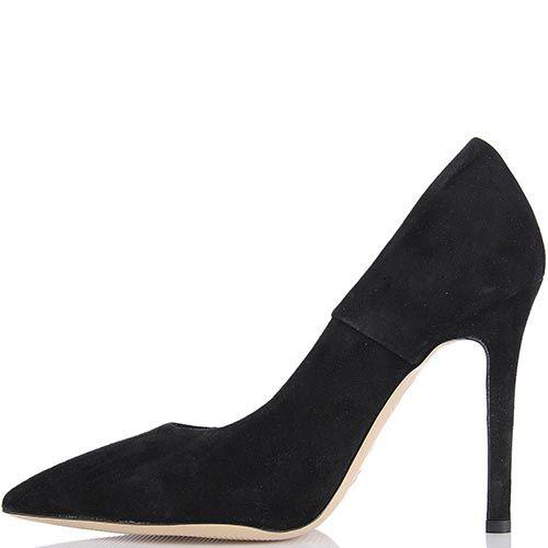 Туфли lEstrosa замшевые черного цвета с каблуком шпилькой, фото