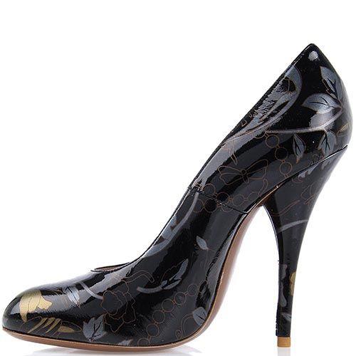 Расписные кожаные туфли Giordano Torresi New Gersey Jap в черно-золотых тонах, фото
