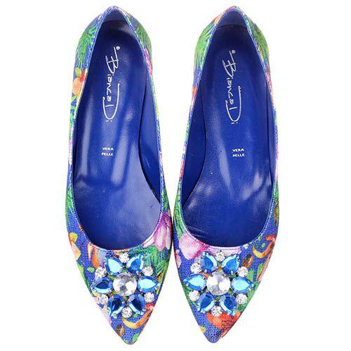 Балетки Bianca Di синего цвета с цветочным принтом и украшением из камней, фото