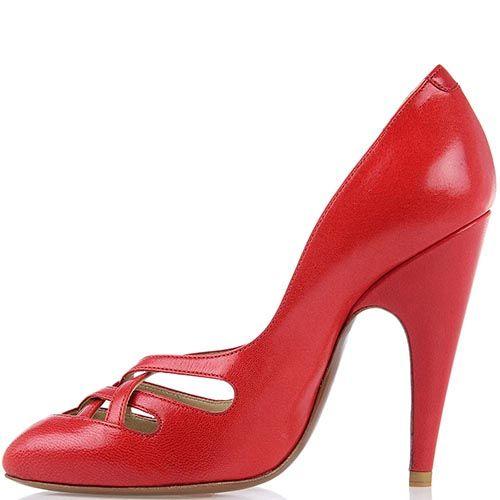 Туфли Giordano Torresi Opale красного цвета с резными переплетениями, фото