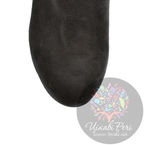 Ботильоны Ovye черные замшевые на каблуке-столбике, фото