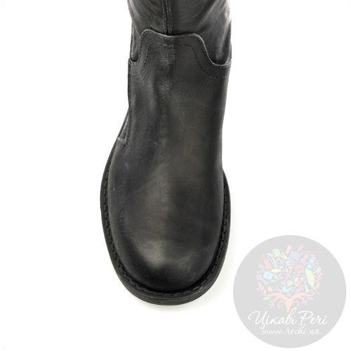 Сапоги Ovye черные осенние кожаные на протекторной подошве, фото