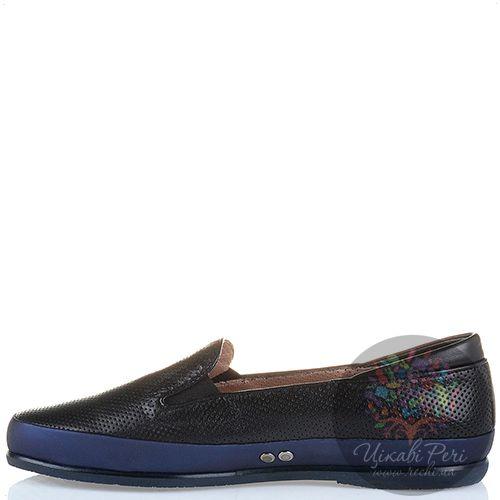 Слиперы Pakerson кожаные черные перфорированные мягкие с синей отделкой, фото