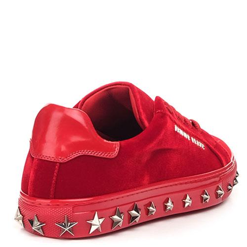 Красные кеды Philipp Plein Stars с декором-звездами , фото