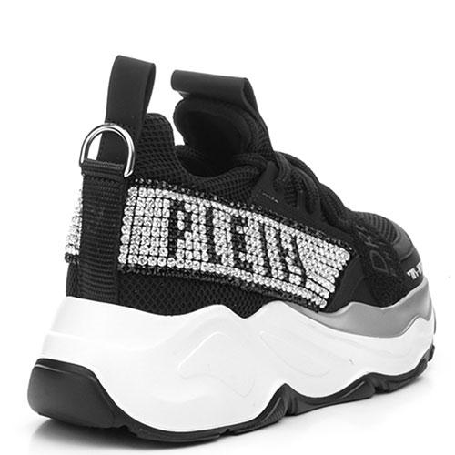Черные кроссовки Philipp Plein Runner Gothic Plein со стразами, фото