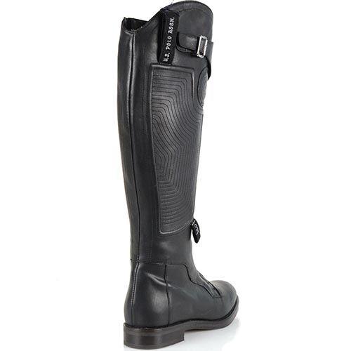 Женские кожаные сапоги U.S. Polo черные со стеганым рисунком на молнии впереди, фото