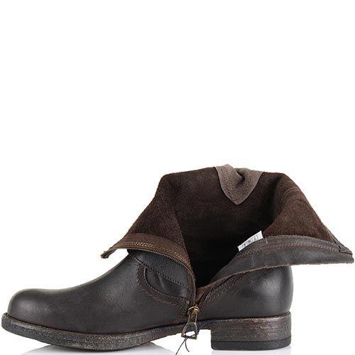 Высокие кожаные ботинки U.S. Polo темно-коричневые женские в стиле гранж, фото