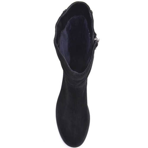 Ботинки Prego с прямым голенищем замшевые с молнией сзади и кристаллами, фото