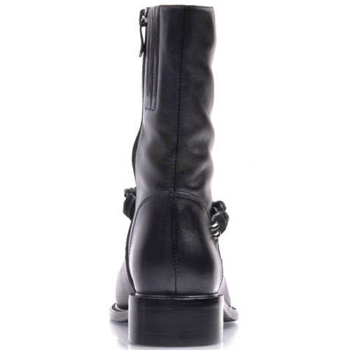 Ботинки Prego черного цвета из матовой кожи и с матовой цепочкой, фото