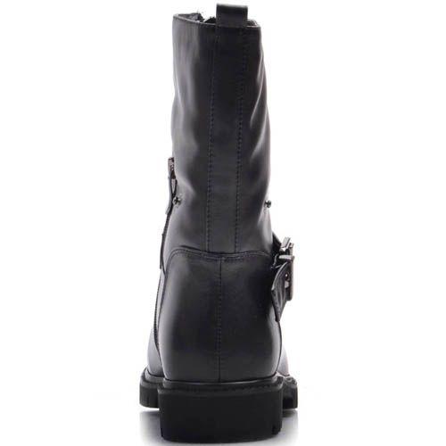 Ботинки Prego зимние черного цвета с молнией посередине и пряжкой, фото