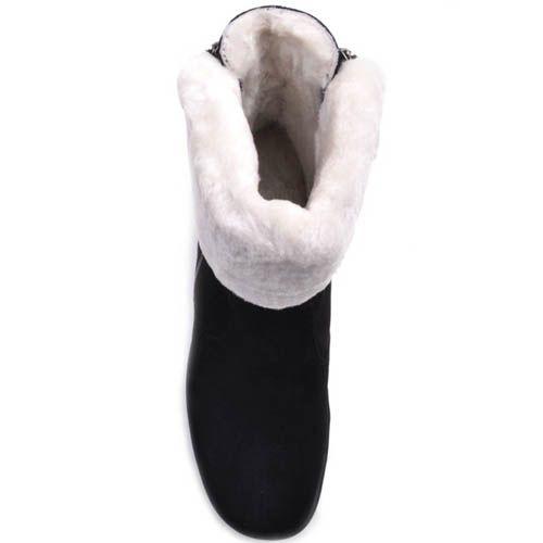 Ботильоны Prego зимние черного цвета с белым меховым отворотом, фото
