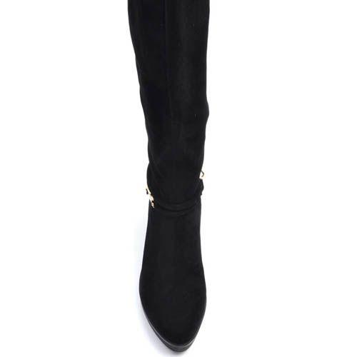 Сапоги Prego зимние черного цвета на низком ходу из замши с ремешком украшеным металлическим лезвием, фото