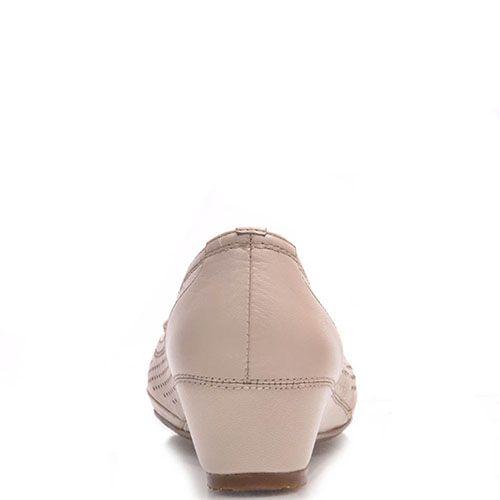 Туфли Prego из кожи бежевого цвета с перфорацией, фото