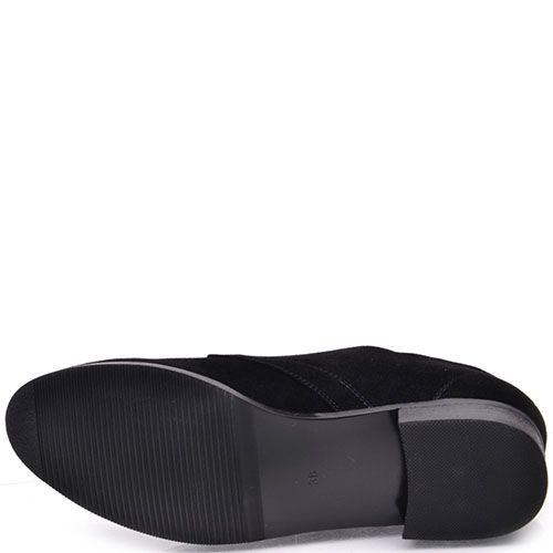 Закрытые туфли Prego из натуральной черной замши со стразами, фото
