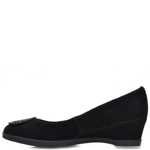 Туфли Prego из натуральной замши черного цвета украшенные стразами, фото