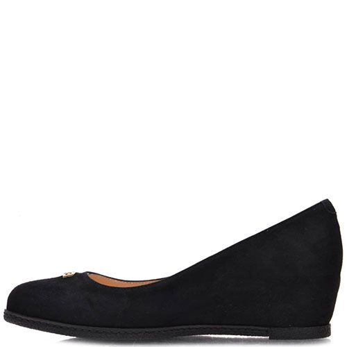 Туфли Prego из натуральной черной замши на танкетке, фото