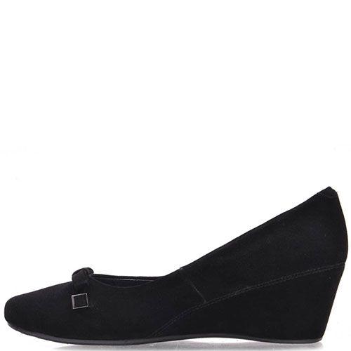 Туфли Prego из натуральной замши черного цвета на танкетке, фото