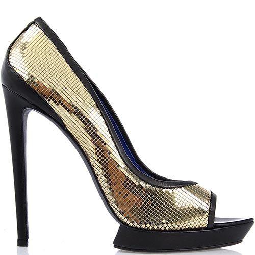Туфли Raphael Young на высокой шпильке золотого цвета, фото