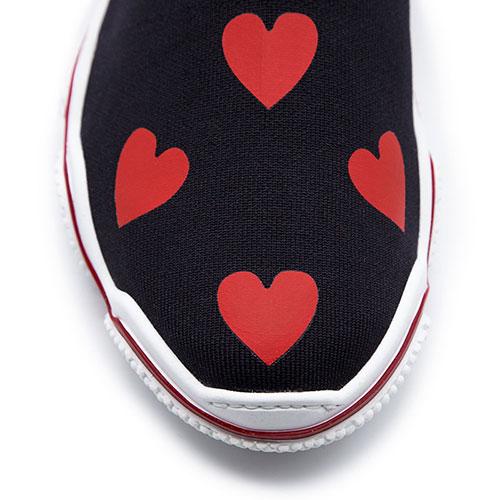 Высокие кеды Red Valentino Glam Run черные в красные сердца, фото