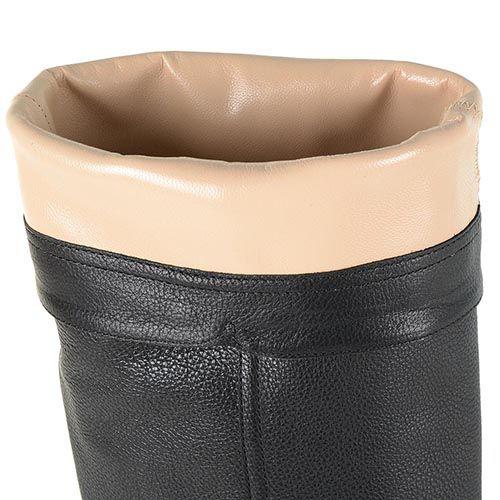Сапоги Renzi кожаные черные на золотистом каблуке, фото